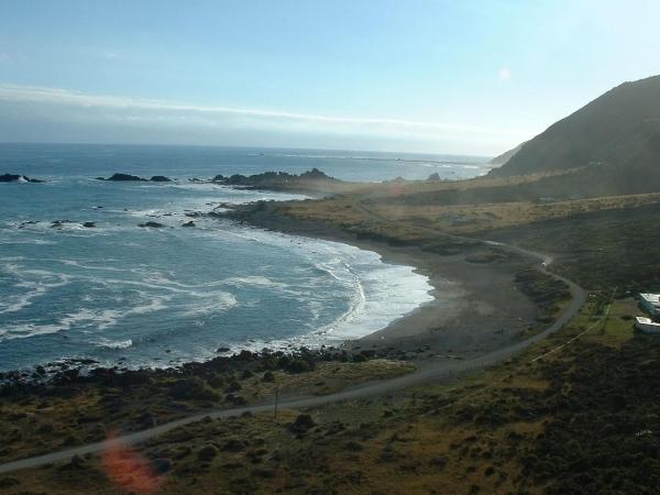 View from Cape Palliser Lighthouse looking West along Cape Palliser Road