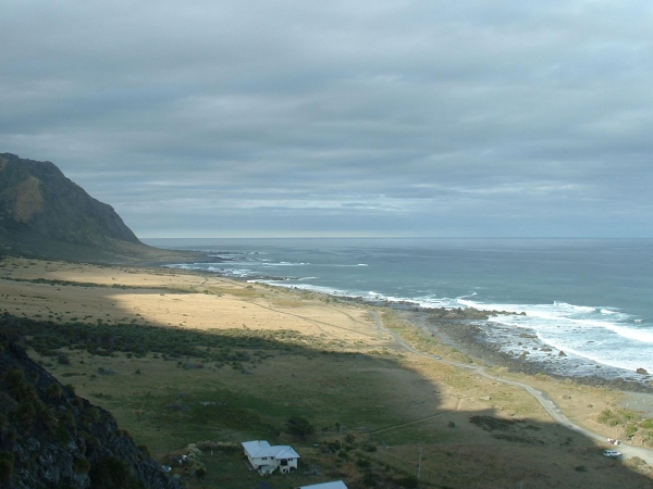 View from Cape Palliser Lighthouse looking East along the track towards Whiterock