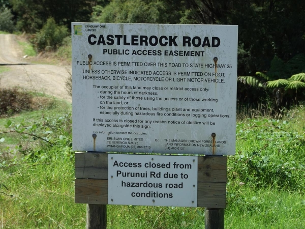 Information about the public easement on Castlerock Road