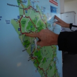 Rob uses the ferry map to show us a route