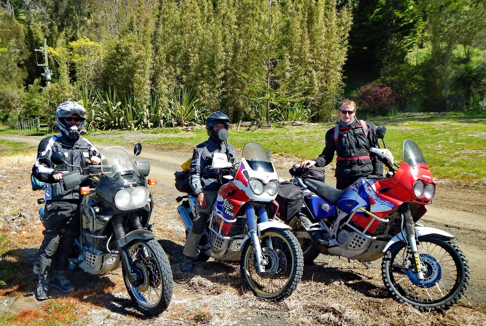 Three Honda Africa Twins and their evil spawn, a Transalp