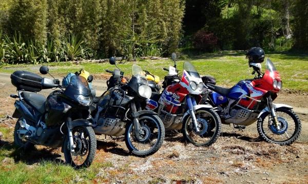 Three Honda Africa Twins and their evil spawn, a Transalp
