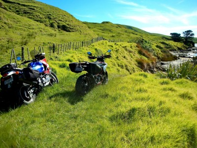 Kel's Africa Twin and my Hypermotard parked on the Owhata Rd 4WD track