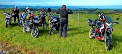 We started Day 2 with 6 bikes: 3 Africa Twins, a Transalp, a WR250R and Hypermotard