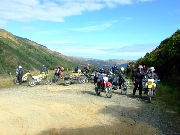 Riders stopped to check out the view on Mangahao Road
