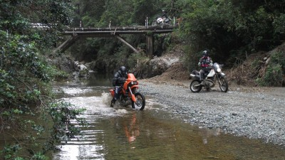 Playing in a stream on Maungatapu Track