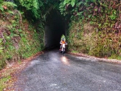 Bernard leaving a tunnel on Kiwi Road