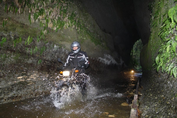 Riding through a tunnel in Nobles Creek