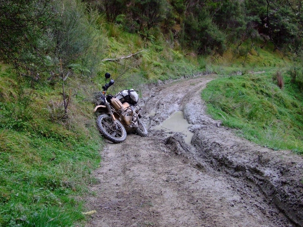 A beached R100GS PD on the Old Whangamomona Road