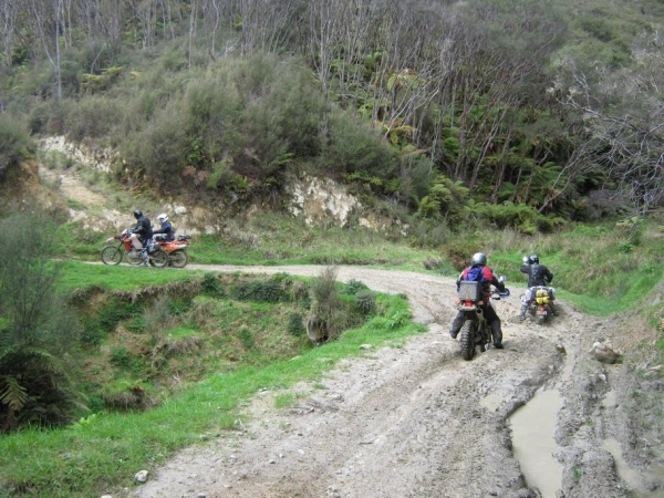 Slip sliding in the clay and mud on Old Whangamomona Road
