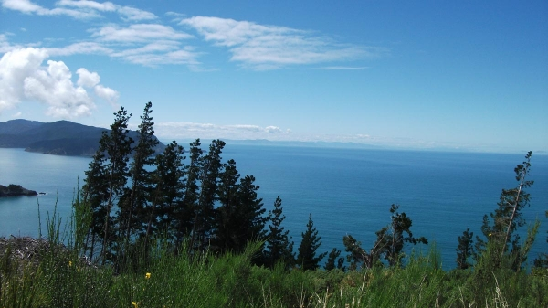 The North Island in the distance from Port Underwood Road