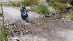 Crossing a small ford in SF70 Rangitaiki Conservation Area