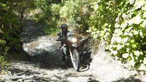 A rider exists a stream up a steep bank heading to Sutherlands Hut