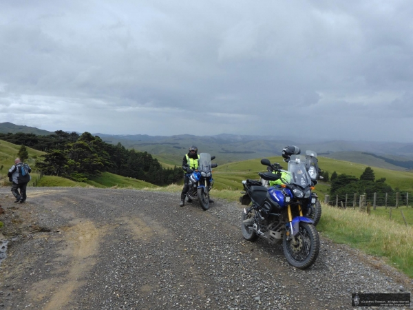 Riders stop to take in the view on Towai Road