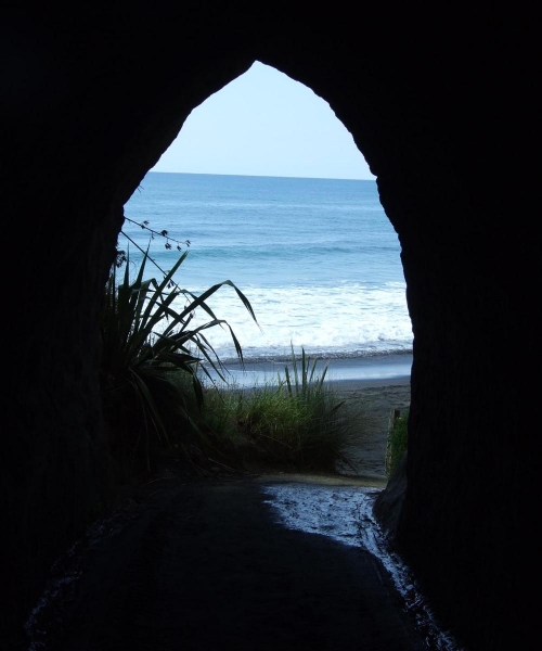 The beach from inside the Waikawau Road tunnel
