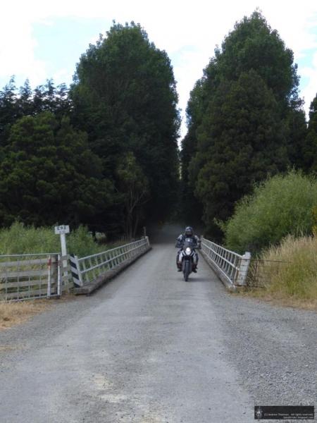 Crossing a bridge on the Waiohoki Valley Loop