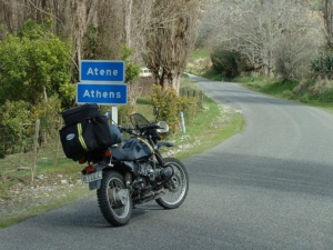 Riding into Athens on the Whanganui River road.