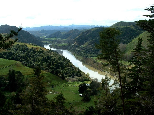 Looking up the Whanganui River Valley near the South End of the road