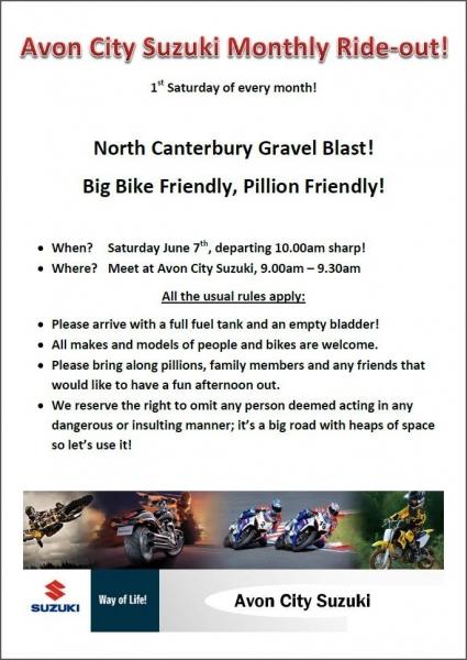 Avon City Suzuki Monthly Rideout