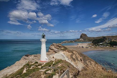 Castlepoint lighthouse with the beach in the background